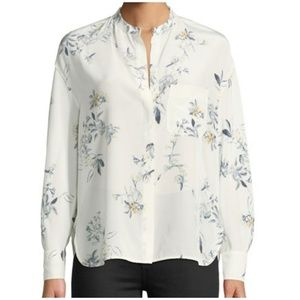 VINCE. SILK LONG SLEEVE FLORAL POCKET BLOUSE SMALL